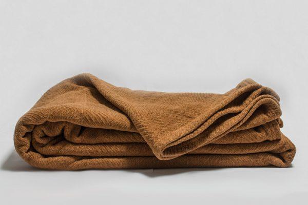 Brown herringbone chenille blanket