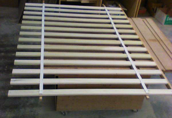 metal free with cotton tape Slatted nature Roll Rust Solid Linden wood
